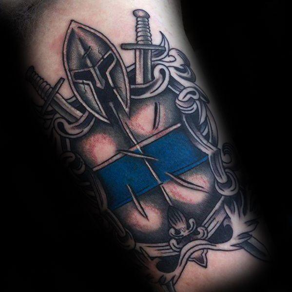 Inner Arm Bicep Battle Shield Thin Blue Line Tattoos For Guys