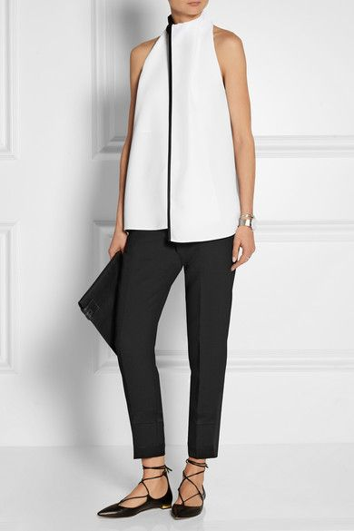 White and black crepe Snap fastenings at neck 100% polyester; trim: 60% acetate, 40% viscose; lining: 100% silk Dry clean Imported