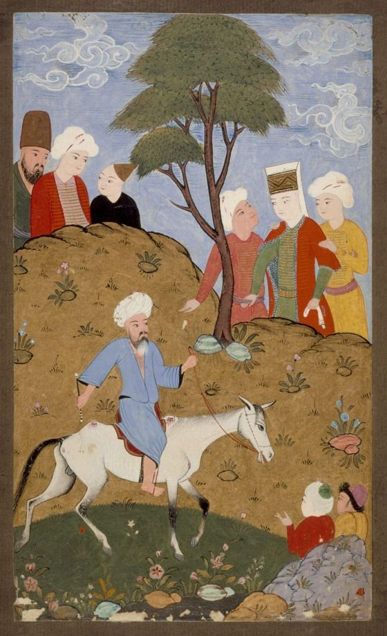 Darvish or Shaykh on a Mule | LACMA CollectionsTurkey, circa 1575-1585 Manuscripts; folios Ink, opaque watercolor, and gold on paper 6 15/16 x 4 1/16 in. (17.7 x 10.3 cm) The Edwin Binney, 3rd, Collection of Turkish Art at the Los Angeles County Museum of Art (M.85.237.21)