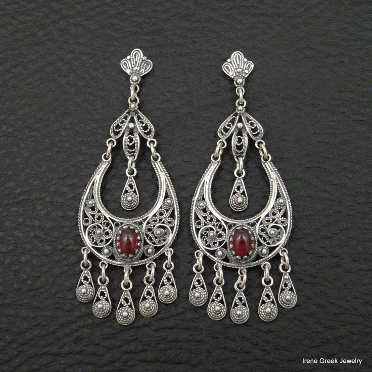RARE NATURAL GARNET FILIGREE STYLE 925 STERLING SILVER GREEK HANDMADE EARRINGS #IreneGreekJewelry #Chandelier