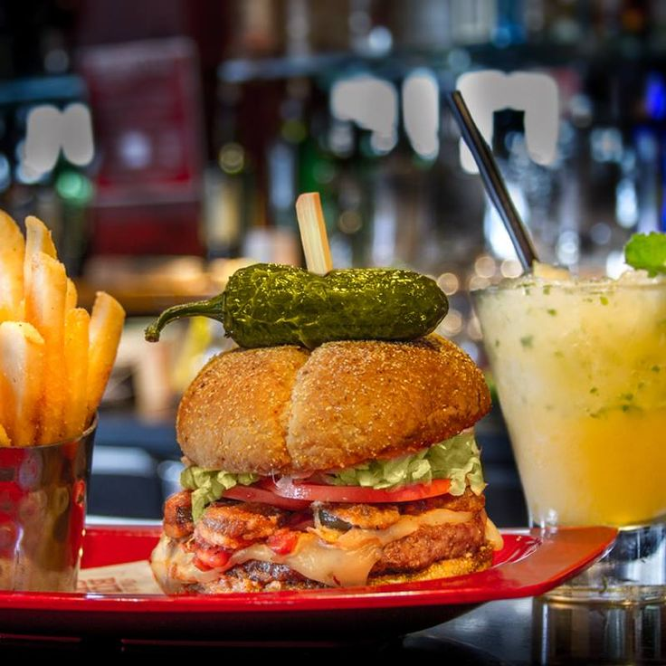 This pairing is on fire! The Burnin' Love Burger with the Fireball ...