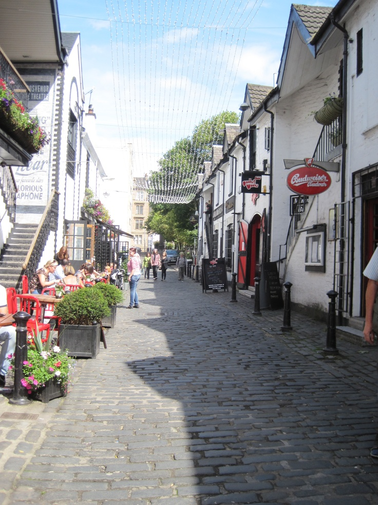 Ashton Lane in the West End. A fantastic accumulation of pubs and restaurants. Food ranging from Scottish to Belgian. Ketchup Restaurant offers amazing burgers and Grosvenor cinema is a cozy little place to watch the latest movies. Definitely a must!