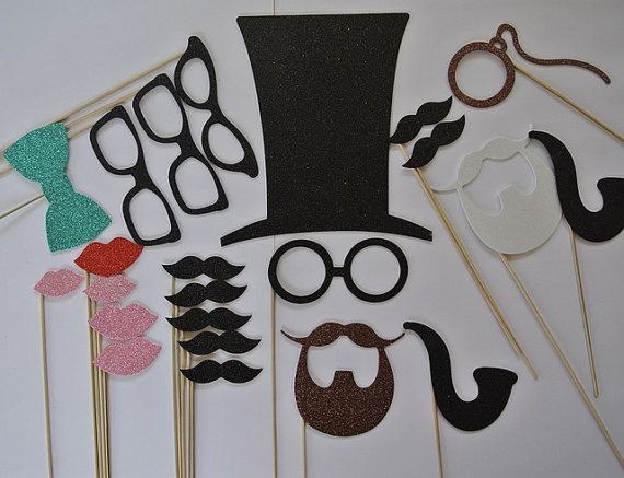 Wedding Photo Booth Party Props Top Hat Tiarra Beard by PICWRAP, $23.00