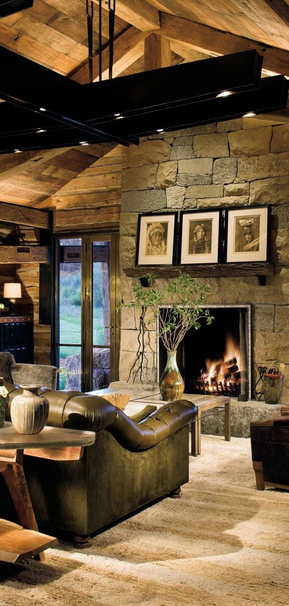 The great room of a house in the Colorado Rockies was designed by William Sofield.