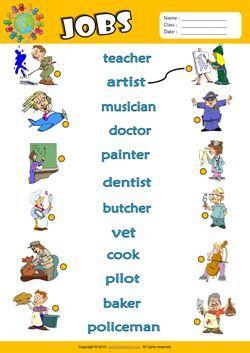 Jobs Esl Matching Exercise Worksheet For Kids