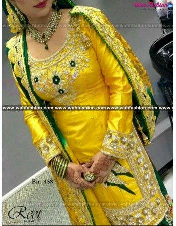 Give yourself a stylish & designer look with this Mesmeric Yellow And Green Hand Embroidered Punjabi Suit. Embellished with Embroidery work and lace work. Available with matching bottom & dupatta. It will make you noticable in special gathering. You can design this suit in any color combination or on any fabric. For more details whatsapp us on +919915178418