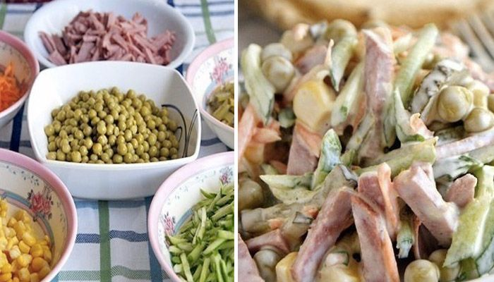 Tento šalát podávame ku hlavnému jedlu ako prílohu alebo ako hlavné jedlo, ktoré dokonalo osvieži počas horúcich letných dní a zároveň zasýti. nastrúhaná mrkva, nastrúhaná čerstvá uhorka, nakrájaná na pásiky sterilizovaná uhorka, hrášok, kukurica, šunka, saláma alebo klobáska, biely jogurt alebo kyslá smotana, soľ a čierne korenie.
