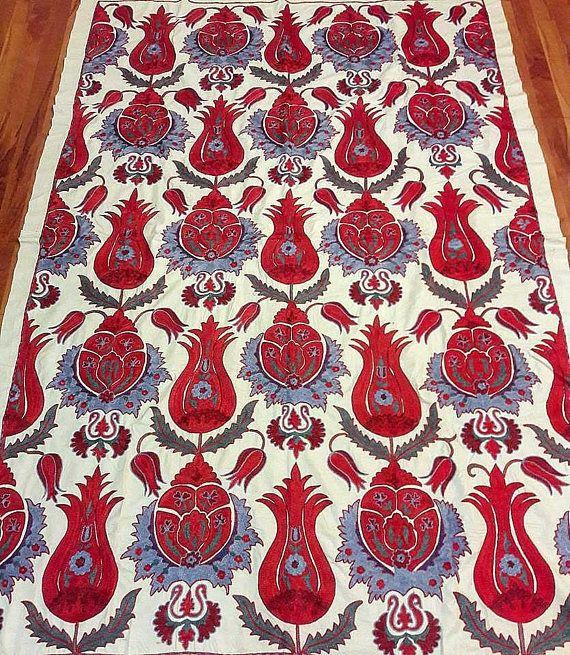 An expressive Uzbek Handmade Suzani. Bedspread Tablecloth