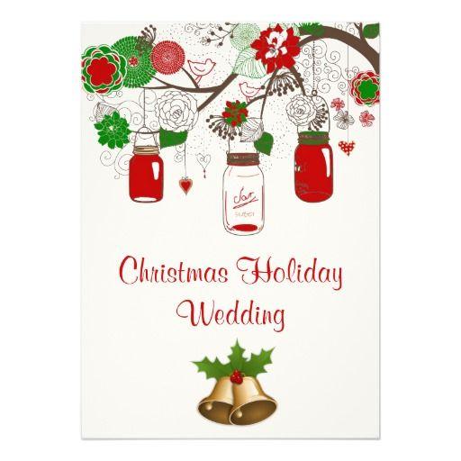Country Mason Jar Christmas Wedding Invitation