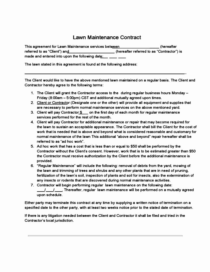 Lawn Care Contract Template Free Lovely Lawn Maintenance Contract Free Download Lawn Maintenance Contract Contract Template Lawn Maintenance