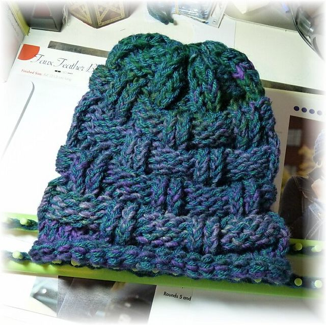 36 Peg Loom Knitting Patterns : Knitting Wheel Fashions Loom Knit Hat. Textured beanie. Loom Knitting P...