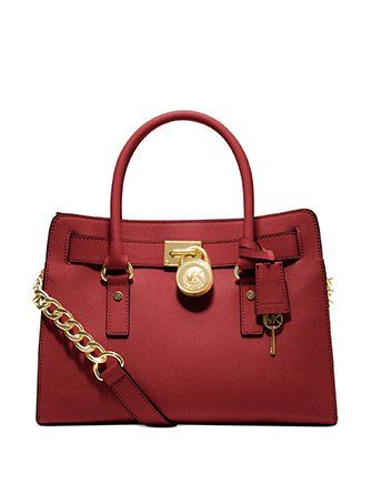 MICHAEL Michael Kors Hamilton Saffiano Leather E/W Satchel, Red * Check this awesome