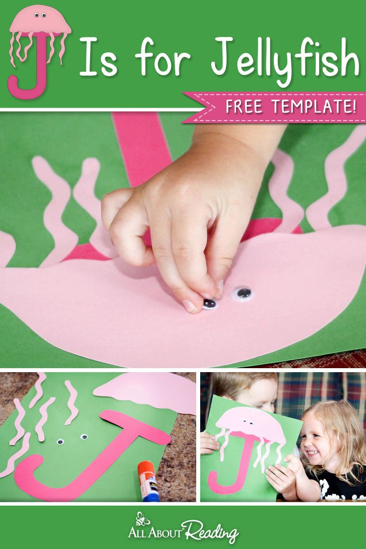 FREE craft template for letter recognition! J is for Jellyfish craft for preschoolers.