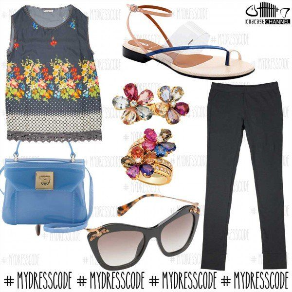 Leggins and Blouse KANGRA - Bag FURLA - Jewelry BVLGARI - Shoes FENDI - Sunglasses MIUMIU #womenswear #newcollections #springsummer2014 #ss14 #outfit #fashion #style #trends #outfitideas #outfitoftheday #miumiu #fendi #bvlgari #furla #candybag #kangra #kangracachemire