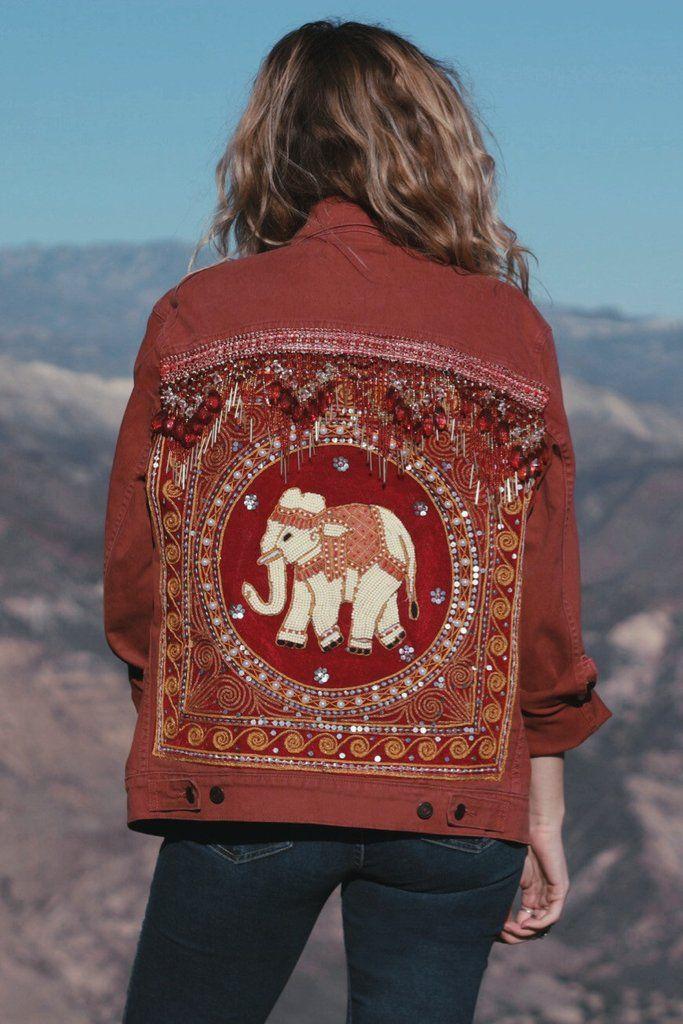SIZE M | RED DENIM | EMBELLISHED ELEPHANT