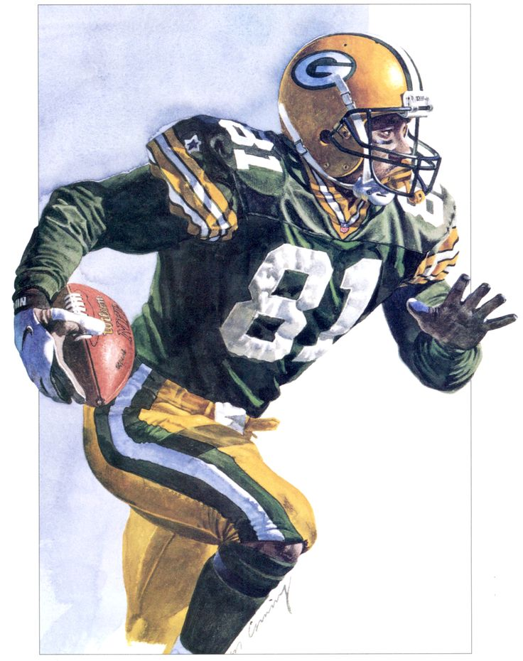Green Bay Packers Desmond Howard by artist Merv Corning. Howard had three long returns in Super Bowl XXXI and became the first special-teams player to be named MVP.