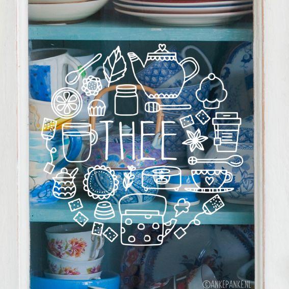 Kun je je dag niet beginnen zonder een kopje thee? Dan staat deze #raamtekening vast goed op je (keuken) raam! Ook geschikt voor lunchrooms en café's. Ook verkrijgbaar in koffie variant.