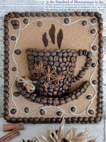 """Натюрморт ручной работы. Ярмарка Мастеров - ручная работа. Купить Панно """"Чашка кофе"""". Handmade. Кофе, панно для кухни, подарок"""
