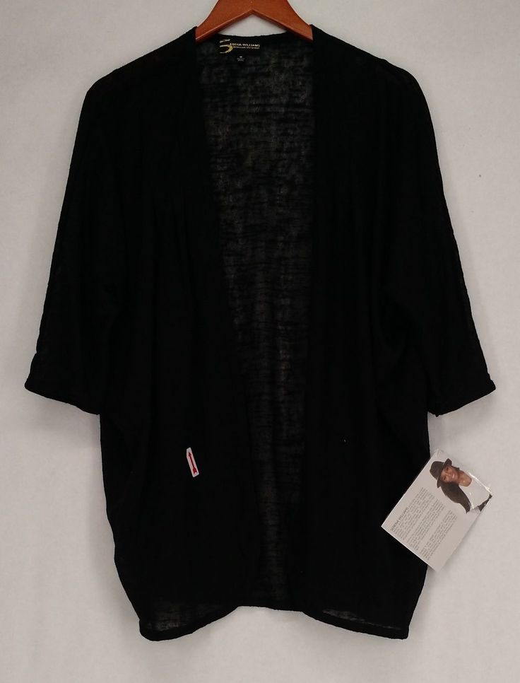 Serena Williams Sweater M Dolman Sleeve Cardigan Black NEW