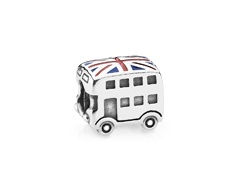 2012 Summer Olympics Coming soon! Union jack bus silver charm with enamel