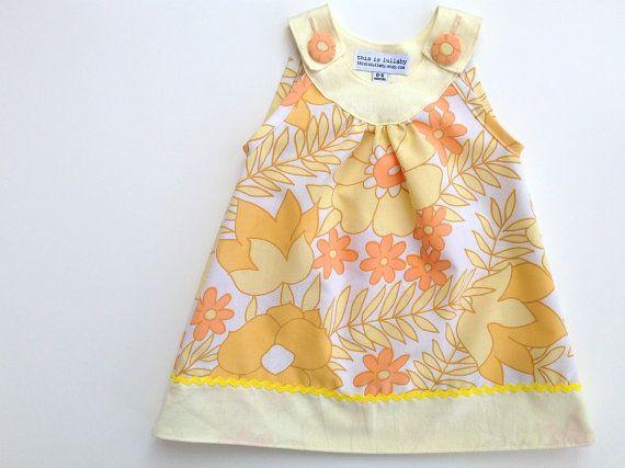 Baby dress, retro girls dresses, newborn baby girl clothing uk, orange mustard and lemon yellow  $49.85