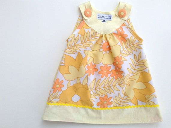 Baby dress, retro girls dresses, newborn baby girl clothing uk, orange mustard and lemon yellow