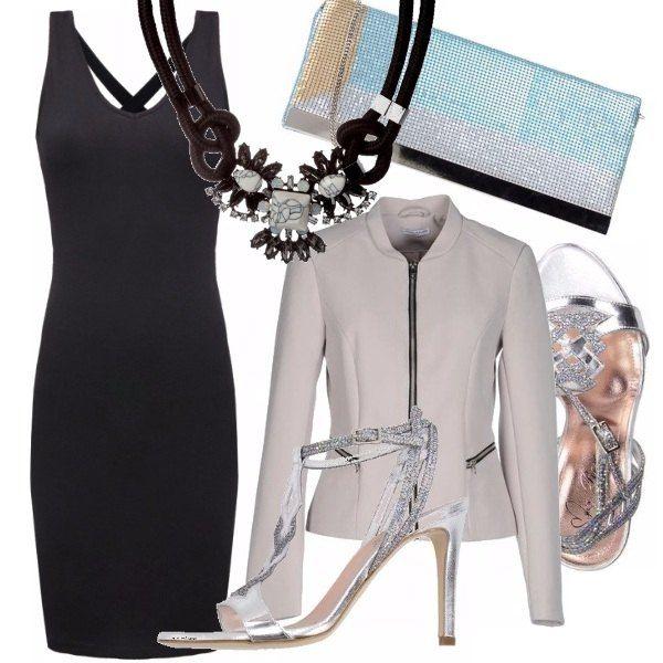 Un abitino nero semplice lo potremmo abbellire con una collana statement come questa che vi indico, giacchino informale e tacco silver per questo sandalo gioiello, la pochette vi piace?