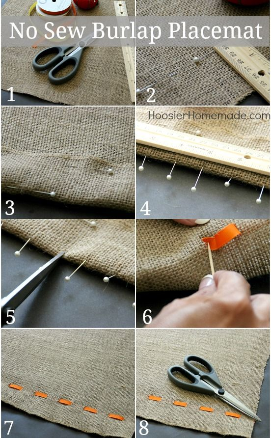 Make a quick and easy No-Sew Burlap Placemat for all the fun fall holidays.   Halloween craft   fall craft