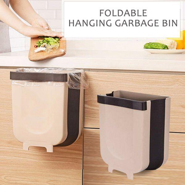 Creative Wall Mounted Folding Waste Bin Kitchen Trash Cans Trash Bins Trash Can For Car