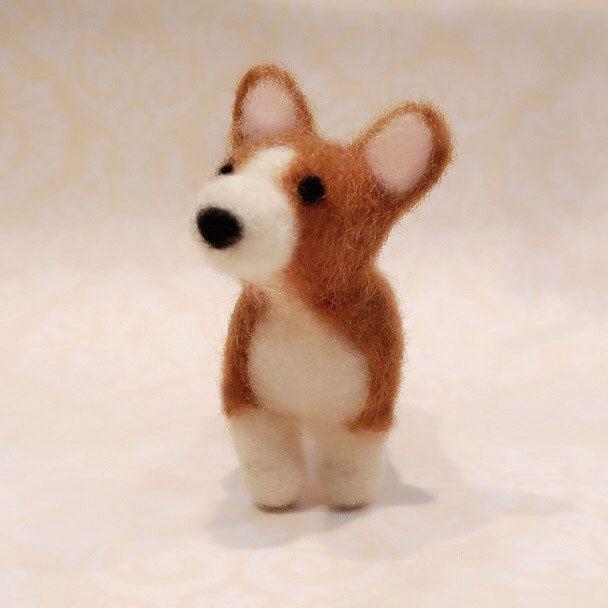 Needle Felted Corgi, Felted Corgi Puppy, Miniature Corgi by DesignedbyAbble on Etsy https://www.etsy.com/listing/229238308/needle-felted-corgi-felted-corgi-puppy