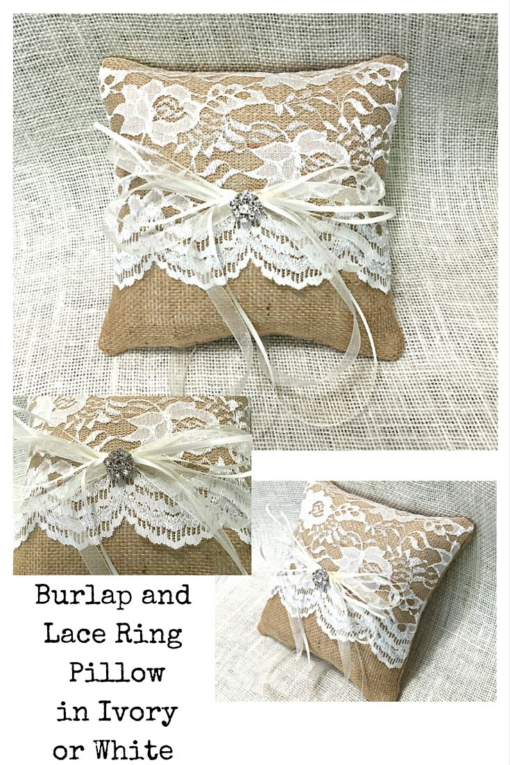 Burlap and Lace combined to delight every bride. This lovely ring bearer pillow is simple, elegant, and perfect for your wedding.  www.sherisewsweet.etsy.com