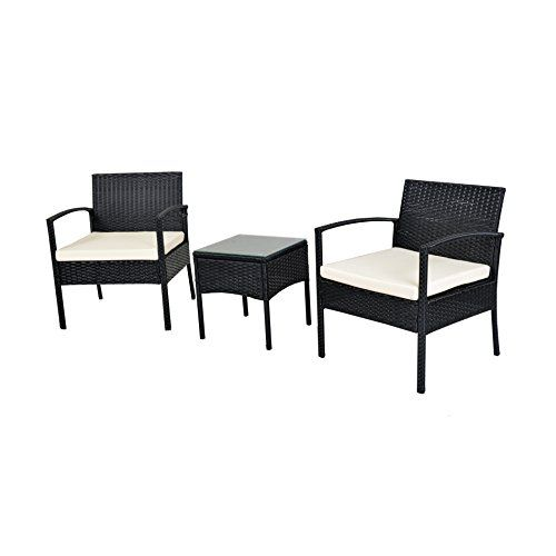 ebs 3 piece rattan wicker patio garden lawn furniture outdoor indoor complete set with coffee