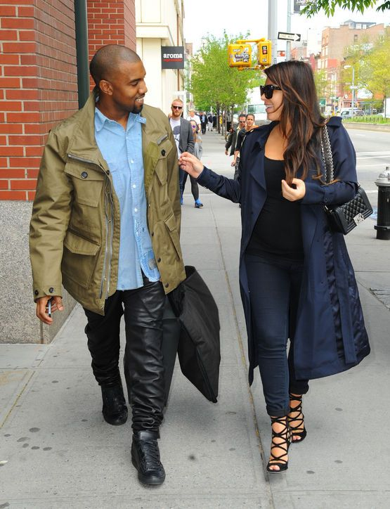 Menswear Fashion Trend: Kanye West's Leather Military-Chic The words Kanye West and leather sweatpants may forever be intertwined, but for good reason. Leather sweatpants are genius—combining sleek, sexy leather and a comfortable elastic waistband—and we actually want to co-opt this entire casual-cool outfit. Grab your man's worn-in chambray shirt to mix with your own luxe track pants and military-inspired parka.