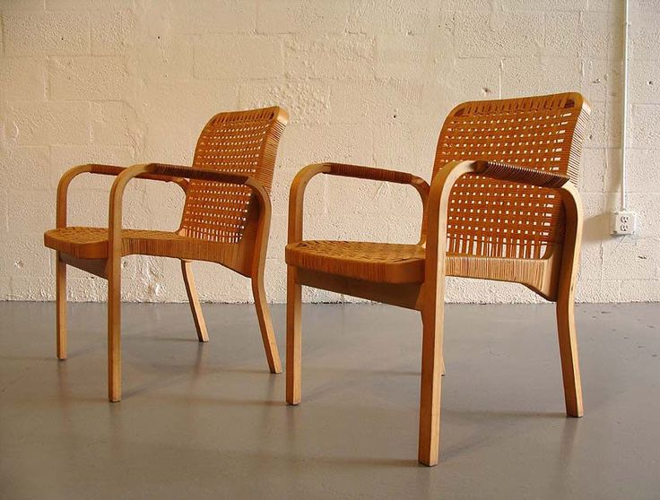 2 original alvar aalto birch and cane chairs no. 46 by artek mid-century modern