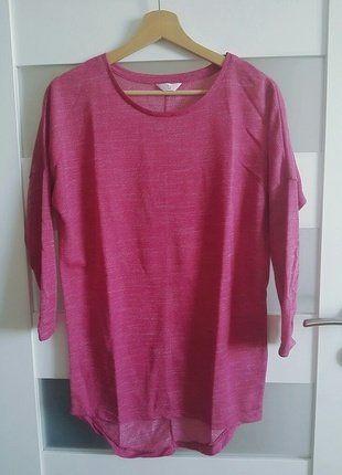 Kup mój przedmiot na #vintedpl http://www.vinted.pl/damska-odziez/swetry-z-dekoltem/16443303-fuksja-melanzowa-bluzeczka-sweterek-asymetryczny-cienki-s-m-jak-nowy