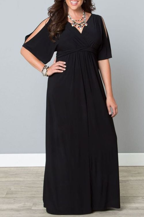 Black Plus Sized V Neck Half Sleeves Maxi Dress Black