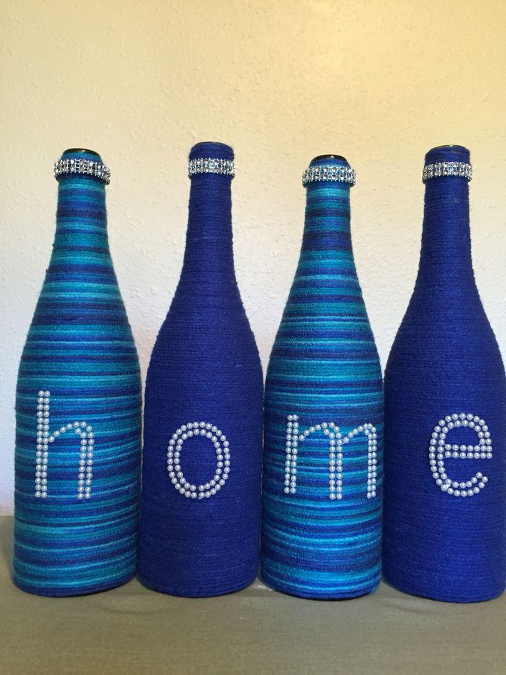 Yarn wrapped bottles by Jen's bottle boutique