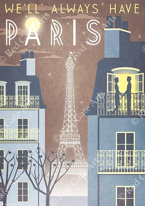 Paris Eiffel Tower Casablanca Art Deco Poster Print A3 A2 A1 Vintage City French 1940's Vogue Cityscape Travel Holiday Romantic Movie Quote