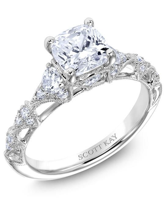 Ladies Platinum Mounting Engagement Ring with Round Diamonds Set in Millgrain-Edged Fans | Scott Kay | https://www.theknot.com/fashion/m2566r515-triton-engagement-ring