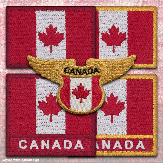 5 QTY Patches flags of Canada IRON ON in different by EmbroSoft