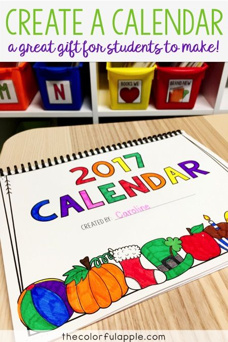 Create a wonderful homemade gift for families this holiday season. Students design and decorate a calendar to hang in their home for the whole year!