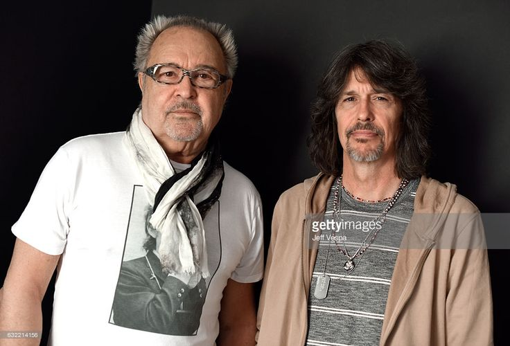 Musicians Mick Jones (L) and Kelly Hansen from the musical group Foreigner pose for a portrait in the WireImage Portrait Studio presented by DIRECTV during the 2017 Sundance Film Festival on January 20, 2017 in Park City, Utah.