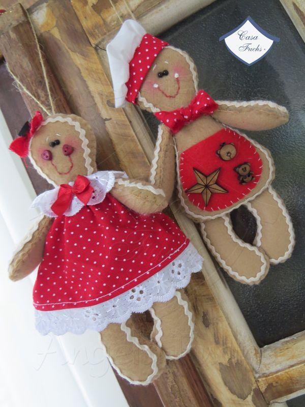 Casal de Gingerbread! Lindos enfeites para árvore de Natal!