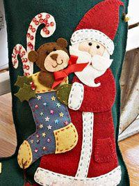 Colorful Santa Applique Christmas Stocking