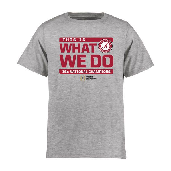 Alabama Crimson Tide Youth College Football Playoff 2015 National Champions Wide Receiver T-Shirt - Heather Gray - $21.99