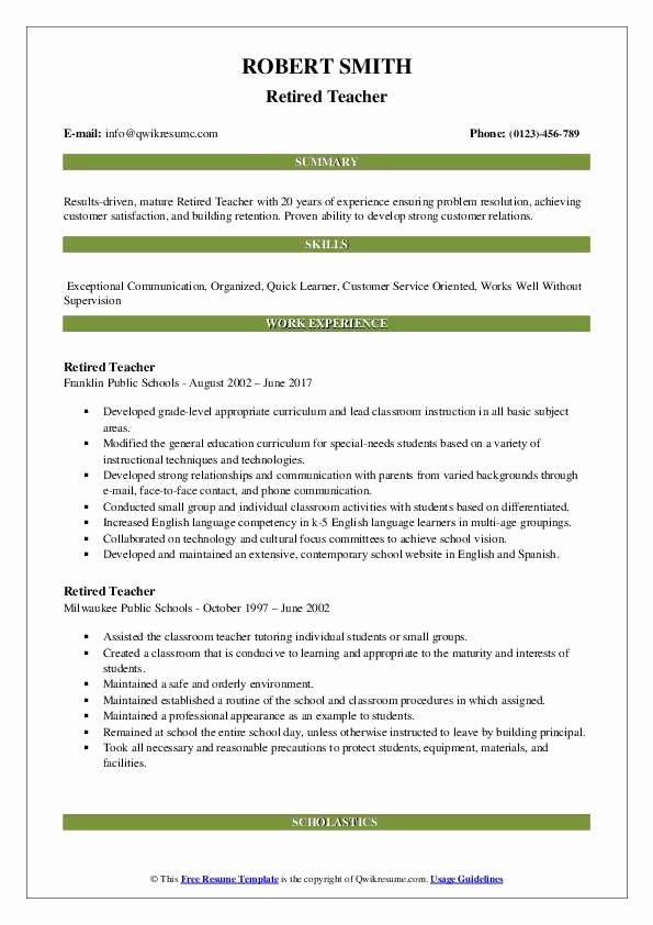 Resume For Retired Person Beautiful Retired Teacher Resume Samples In 2020 Teacher Resume Teacher Resume Template Resume Examples
