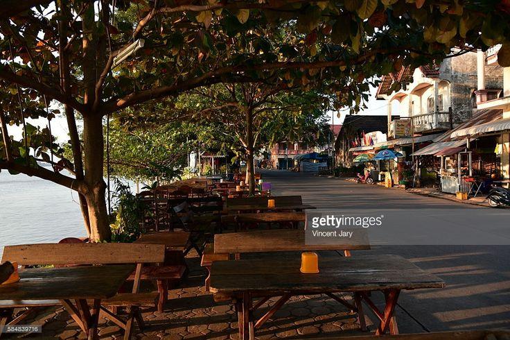 Thakhek city, road with mekong river, Laos, Asia.                                                                                                                                                                                 More
