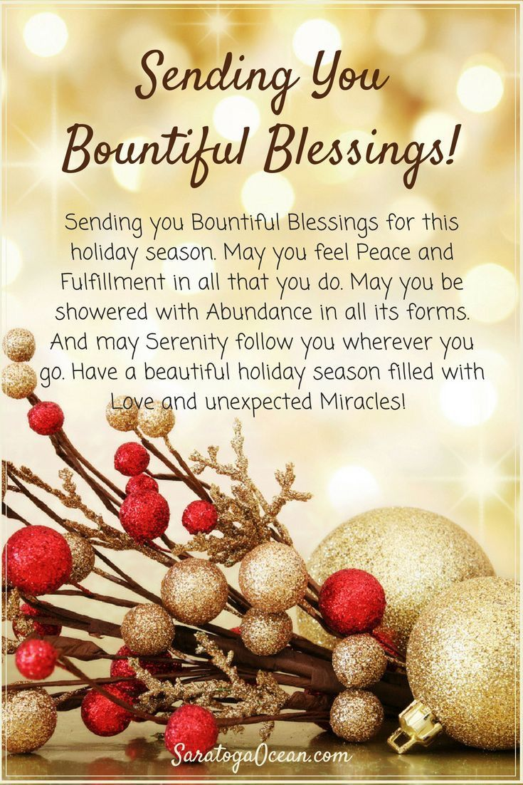 Sending You Bountiful Blessings Christmas Greetings Messages Christmas Messages Christmas Card Messages