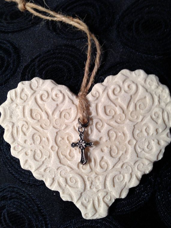 Hand stamped salt dough heart with cross charm. (*…
