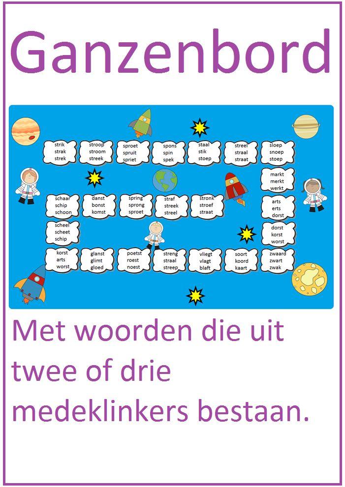 Ganzenbord met woorden die uit twee of drie medeklinkers bestaan. Goed te gebruiken bij thema 7 van Lijn 3.